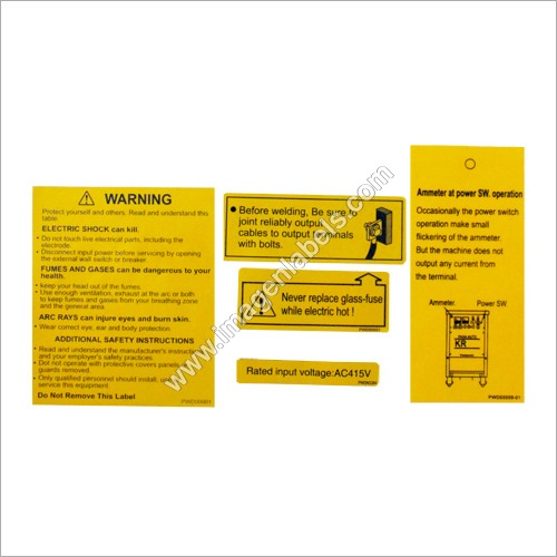 Caution Polyester Sticker