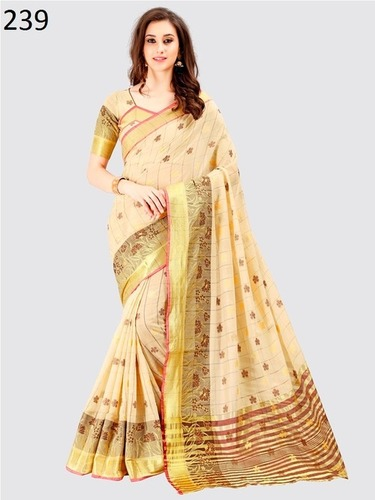 Crem Cotton Saree