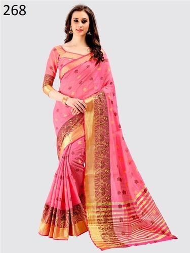 Pink Cotton Saree