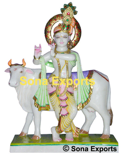 Marble Lord Krishna with Cow