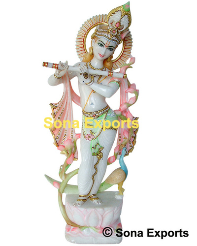 Beautiful Krishna White Marble Statue
