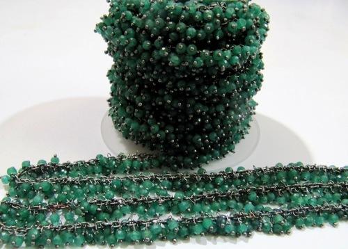 Genuine Emerald Dangling Beaded Chain