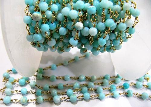 Natural Peruvian Blue Opal Plain Beaded Chain