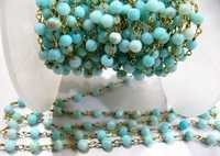 Natural Peruvian Blue Opal Plain Beaded Chain