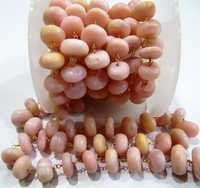 Natural Peruvian Pink Opal Plain Beaded Chain