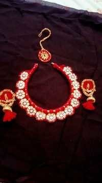 Handmade White And Red Fabric Earring With Necklace