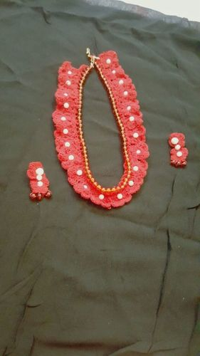 Handmade Red Fabric Earring with necklace