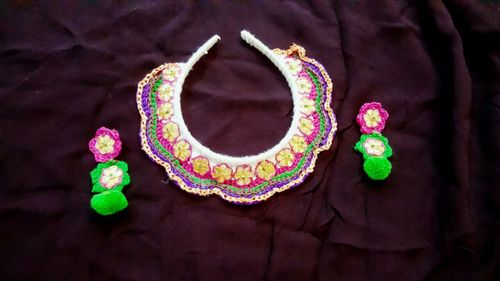 Handmade Pink and Green Fabric Earring with Necklace