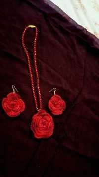 Handmade Flower Pattern Red Fabric Earring with Necklace