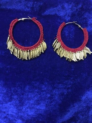 Handmade Red Fabric and Golden Beads Earring