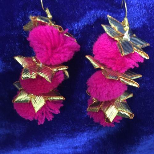 Handmade Pom Pom Pink Earring With Gotta Patti Work
