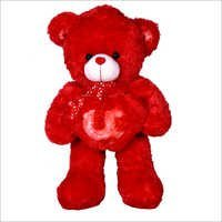Red Soft Fabric Teddy Bear With Heart
