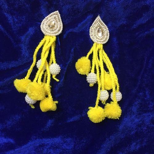 Handmade Pom Pom Yellow Earring With Beads Work