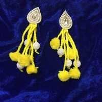 Handmade Pom Pom Yellow Earring With Beads Work