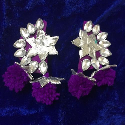 Handmade Purple And Silver Earring With Gotta Patti Work