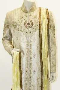 Elegant cream and gold sherwani