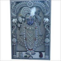 Silver Wood Ambose Antique Shreenath Ji Painting
