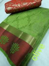 Tussar Silk Lotus Border Saree With Extra Jacquard Blouse