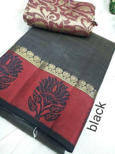 Tussar Silk Satin Lotus Border Saree With Extra Jacquard Blouse