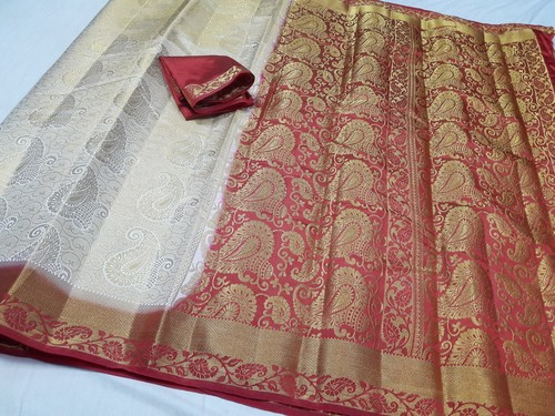 Kanchiuram Art Silk Brocket Contrast Saree