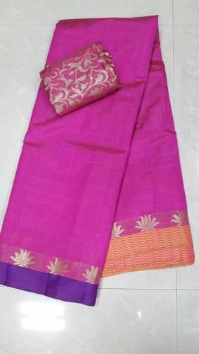 Tussar Silk Lotus Lehariya Border Saree With Extra Jacquard Blouse