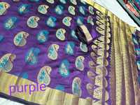 Chanderi Banarasi Art Silk Mango Meena Saree