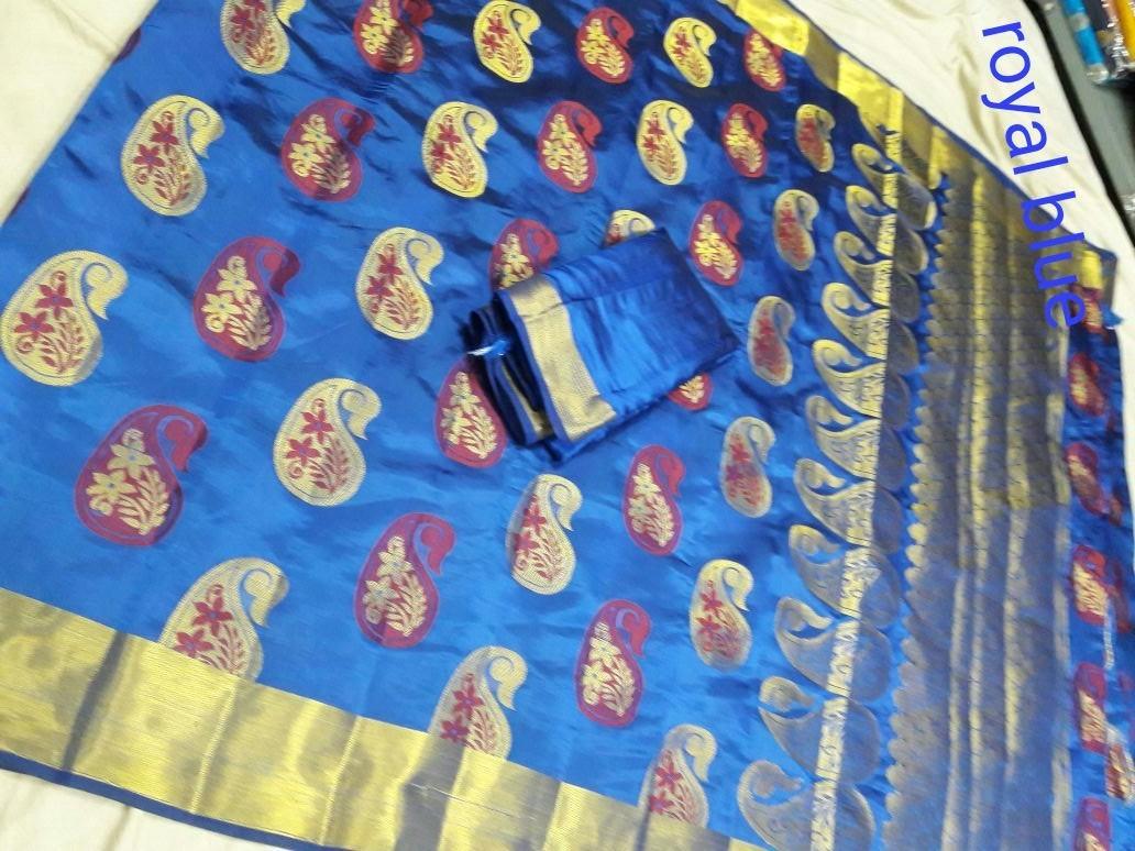 Chanderi Banarasi Art Silk Mango Meena Saree
