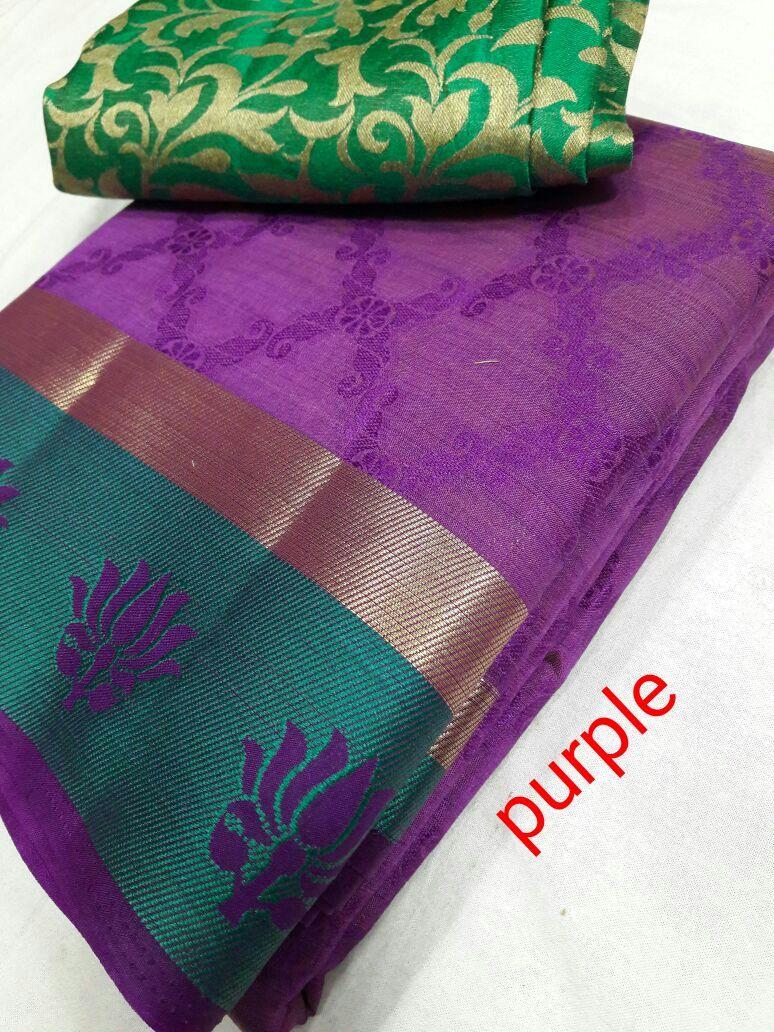 Tussar Silk Lotus Border Saree With Extra Jacquard Blouse