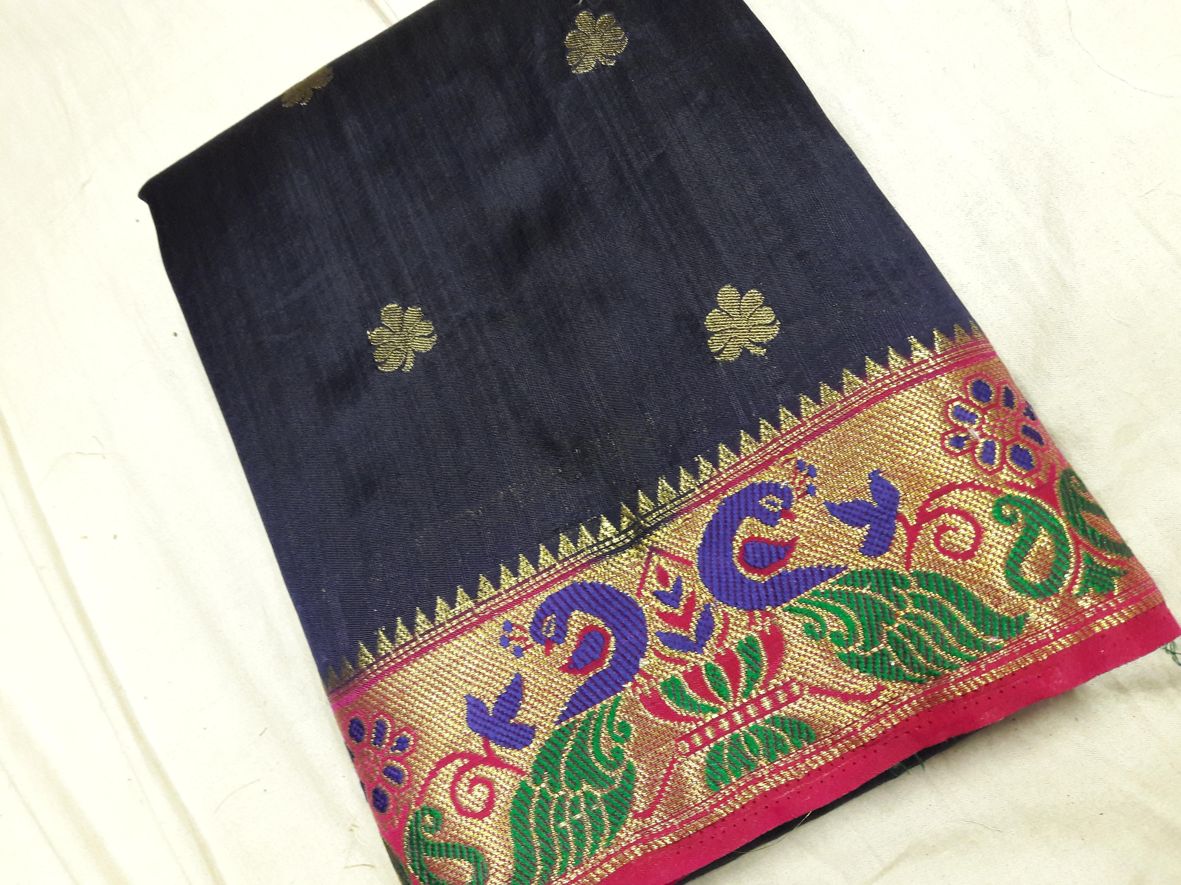Paithani Peacock Contrast Saree