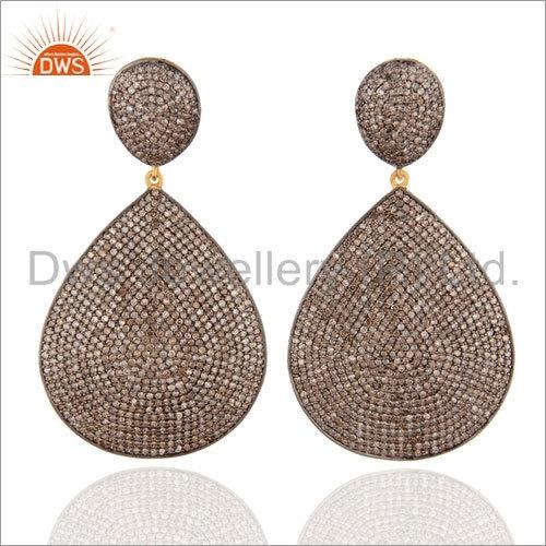 925 Silver Pave Diamond Earrings Jewelry