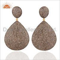 925 Silver Pave Diamond Earrings Jewelry