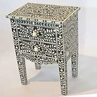 Floral Bone Inlay Bedside Table With 2 Drawers
