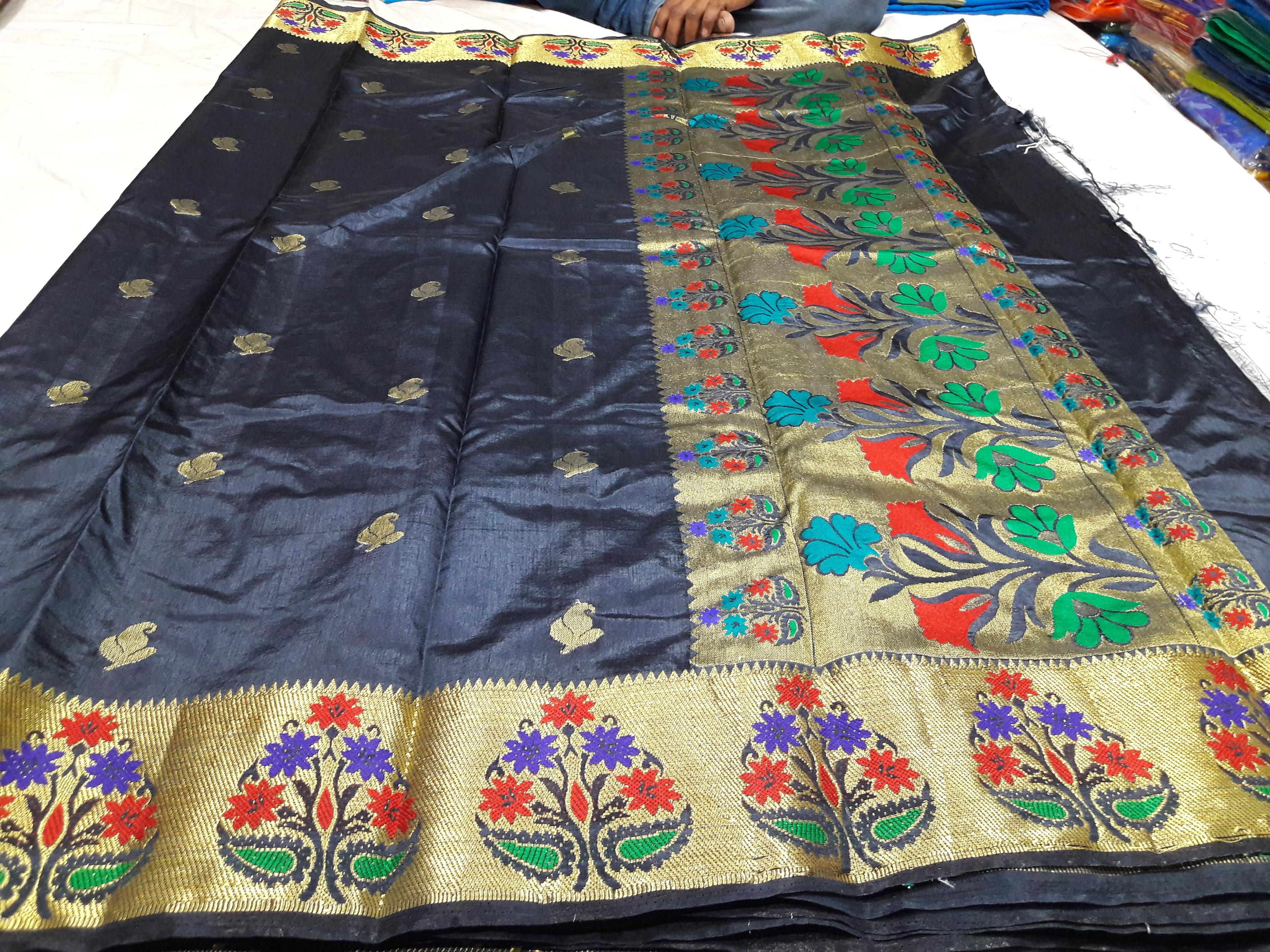 Semi Paithani Flower Butta Art Silk Sarees
