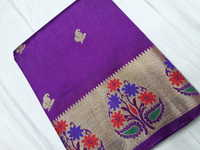 Semi Paithani Flower Butta Art Silk Sarees