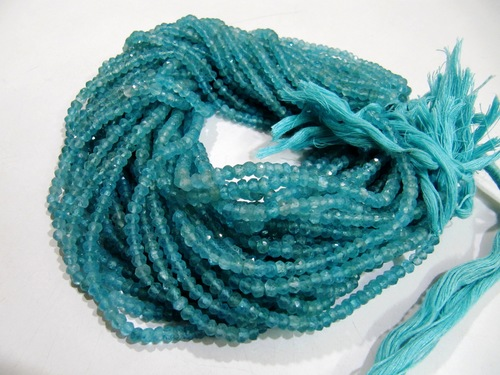 Apatite Rondelle faceted Beads