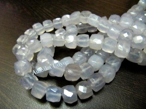 Natural Blue Chalcedony Box Shape Beads