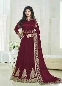DESIGNER GEORGETTE SILK FABRICS SUITS WITH EMBROIDARY WORK ANARKALI