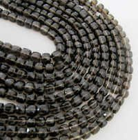 Smokey Quartz faceted Box beads