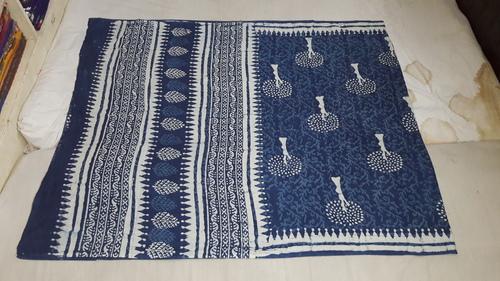 Block Printed Indigo Blue Saree