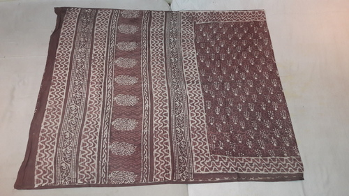 Dabu Hand Block Printed Maheshwari saree