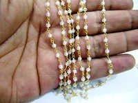 White Cubic Zirconia Rosary Bead Chain