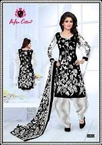 BLACK AND WHITE COTTON PRINTED DRESS MATERIALS NAFISA COTTON