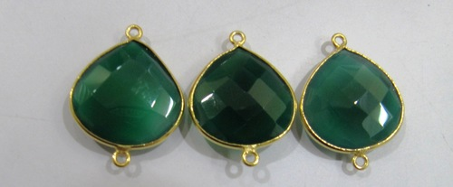 Green Onyx Heart Shape Connector