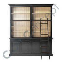 Ladder Bookcase In Solid Black Pine Wood