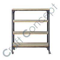 TROLLEY WITH CASTORS IN IRON & WOOD
