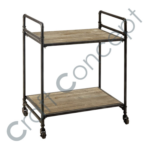 IRON WITH 2 WOODEN SHELVES