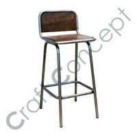 WOODEN SEAT IRON BAR CHAIR