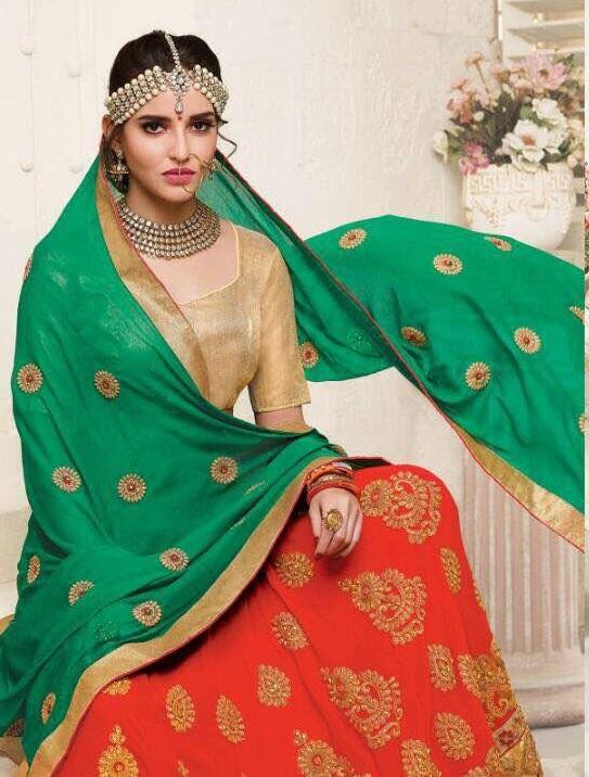 padmavati peach lehenga choli by aashirwad creation 7 pieces catalog wholesaler