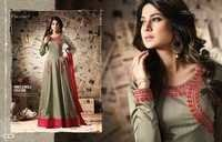 PURE SILK FABRICS RESHAM WORK SUITS MUGDHA BLACK AND CHIKU