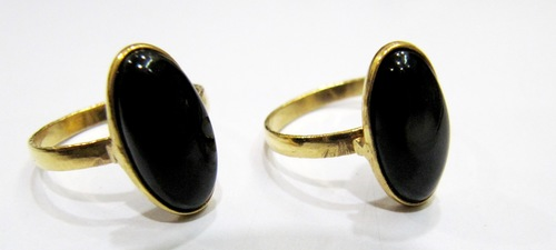 Black Spinel Gold Plated Adjustable Ring